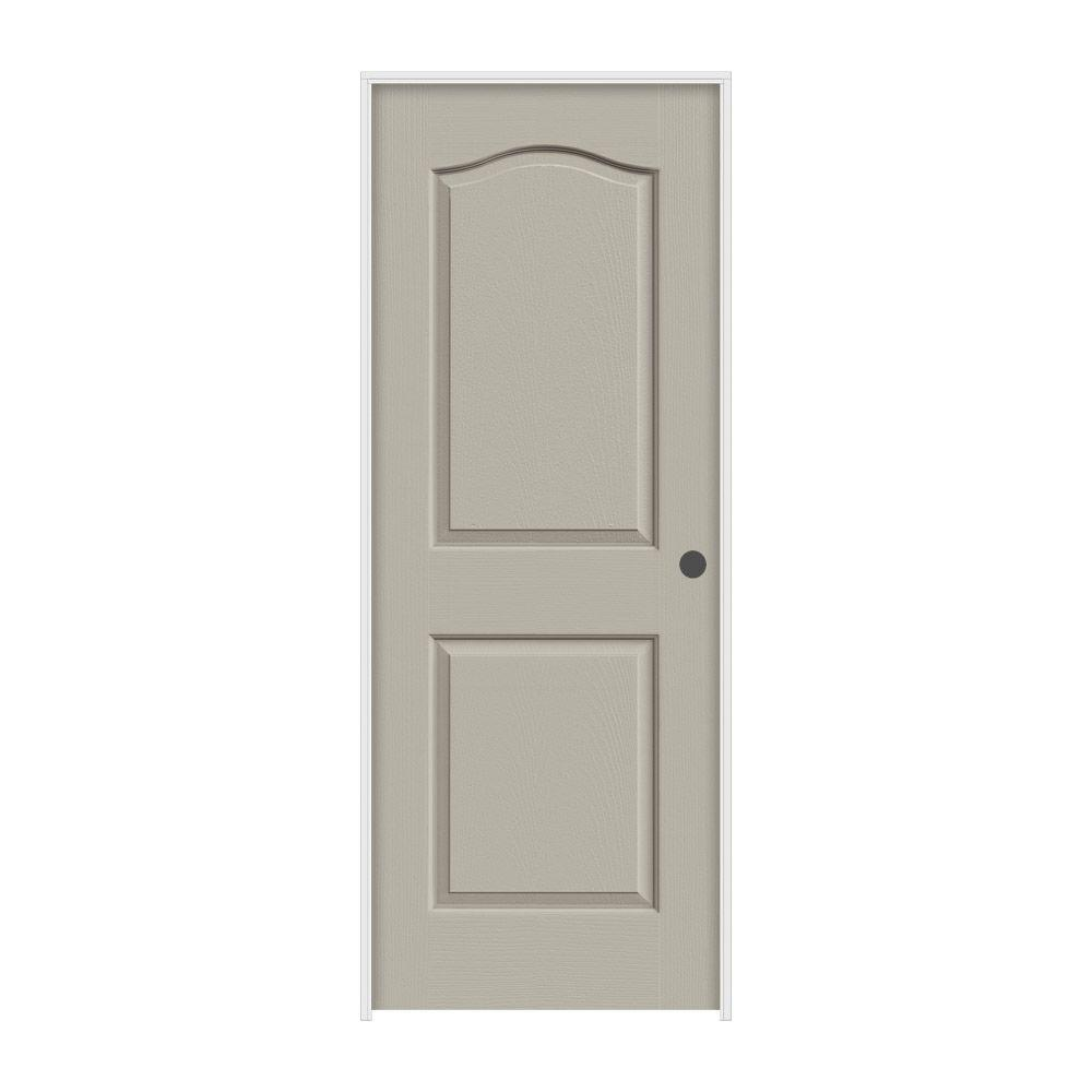 JELD-WEN 28 in. x 80 in. Princeton Desert Sand Painted Left-Hand Smooth Molded Composite MDF Single Prehung Interior Door