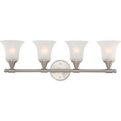 4-Light Brushed Nickel Vanity Fixture with Frosted Glass