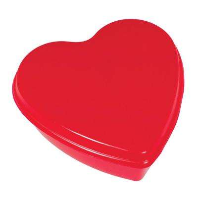 7.75 in. x 7.75 in. x 3 in. Valentine's Day Heart Shaped Red Plastic Box (5-Pack)