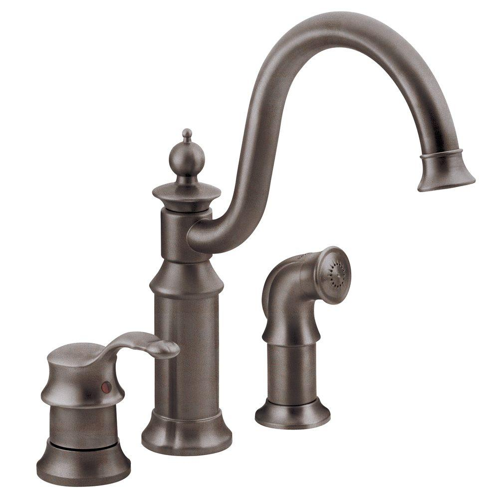 Three Hole Kitchen Faucet | Moen Waterhill High Arc Single Handle Standard Kitchen Faucet With Side Sprayer In Oil Rubbed Bronze