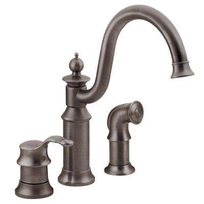 Waterhill High-Arc Single-Handle Standard Kitchen Faucet with Side Sprayer in Oil-Rubbed Bronze