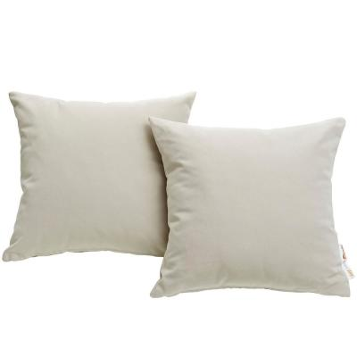 Summon Sunbrella Square Outdoor Throw Pillow in Beige 2-Piece Set