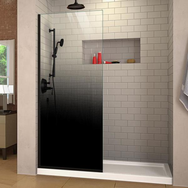 Linea Ombre 34 in. W x 72 in. H Fixed Single Panel Frameless Shower Screen in Satin Black without Handle