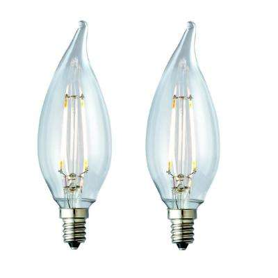 25W Equivalent Warm White CA10 Clear Lens Nostalgic Candelabra Flame Tip Dimmable LED Light Bulb (2-Pack)