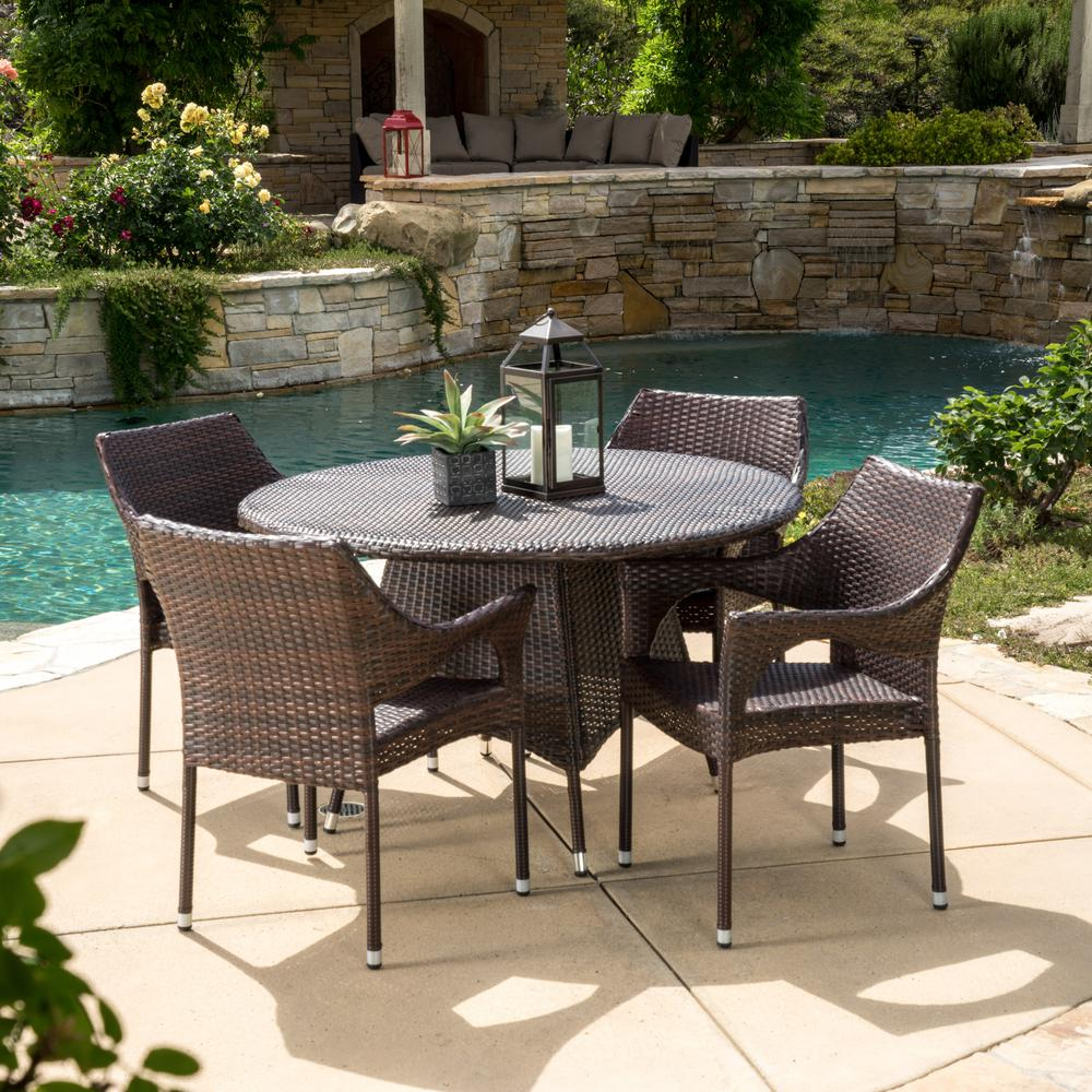 Le House Armstrong Multi Brown 5 Piece Wicker Outdoor Dining Set