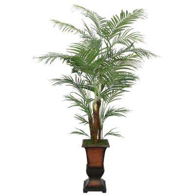7 ft. Tall High End Realistic Silk Areca Palm Tree with Decorative Planter