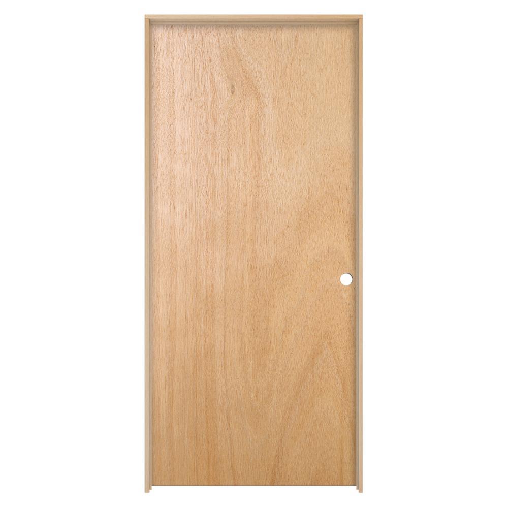 30 in. x 80 in. Unfinished Left-Hand Flush Hardwood Single Prehung Interior Door