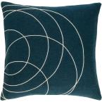 Bempton Navy Geometric Polyester 18 in. x 18 in. Throw Pillow