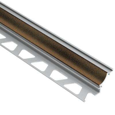 Dilex-AHK Bronze Textured Color-Coated Aluminum 1/2 in. x 8 ft. 2-1/2 in. Metal Cove-Shaped Tile Edging Trim