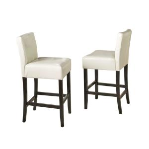 Noble House Lopez 30 In Ivory Leather Backless Bar Stool