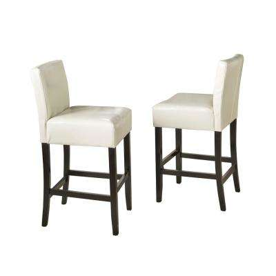 Superior Lopez 29.5 In. Ivory Leather Bar Stool (Set Of 2)