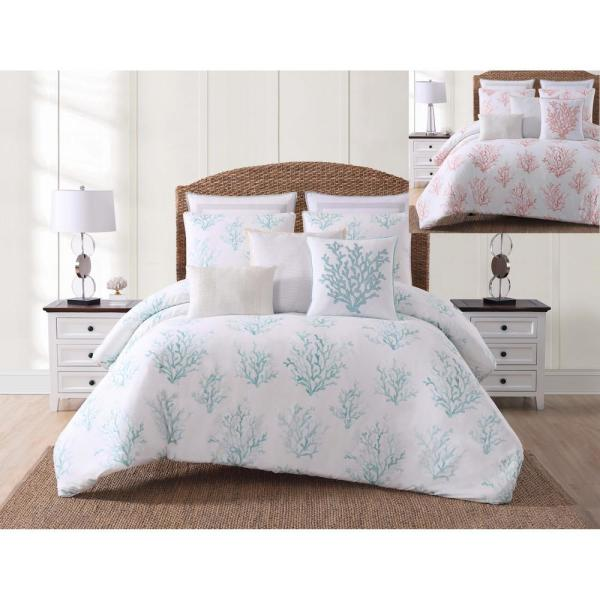 Cove 3-Piece White and Blue Full/Queen Comforter Set