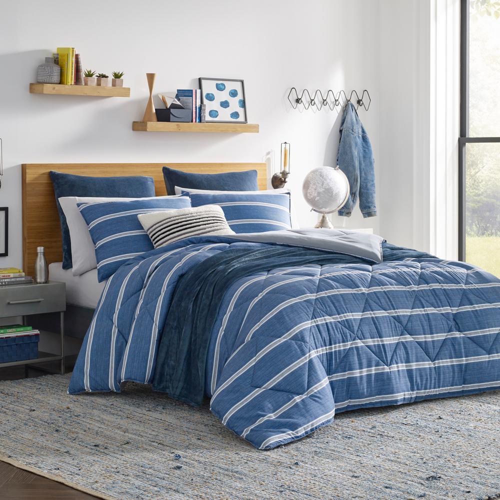 Keller 3-Piece Blue Full/Queen Microfiber Comforter Set