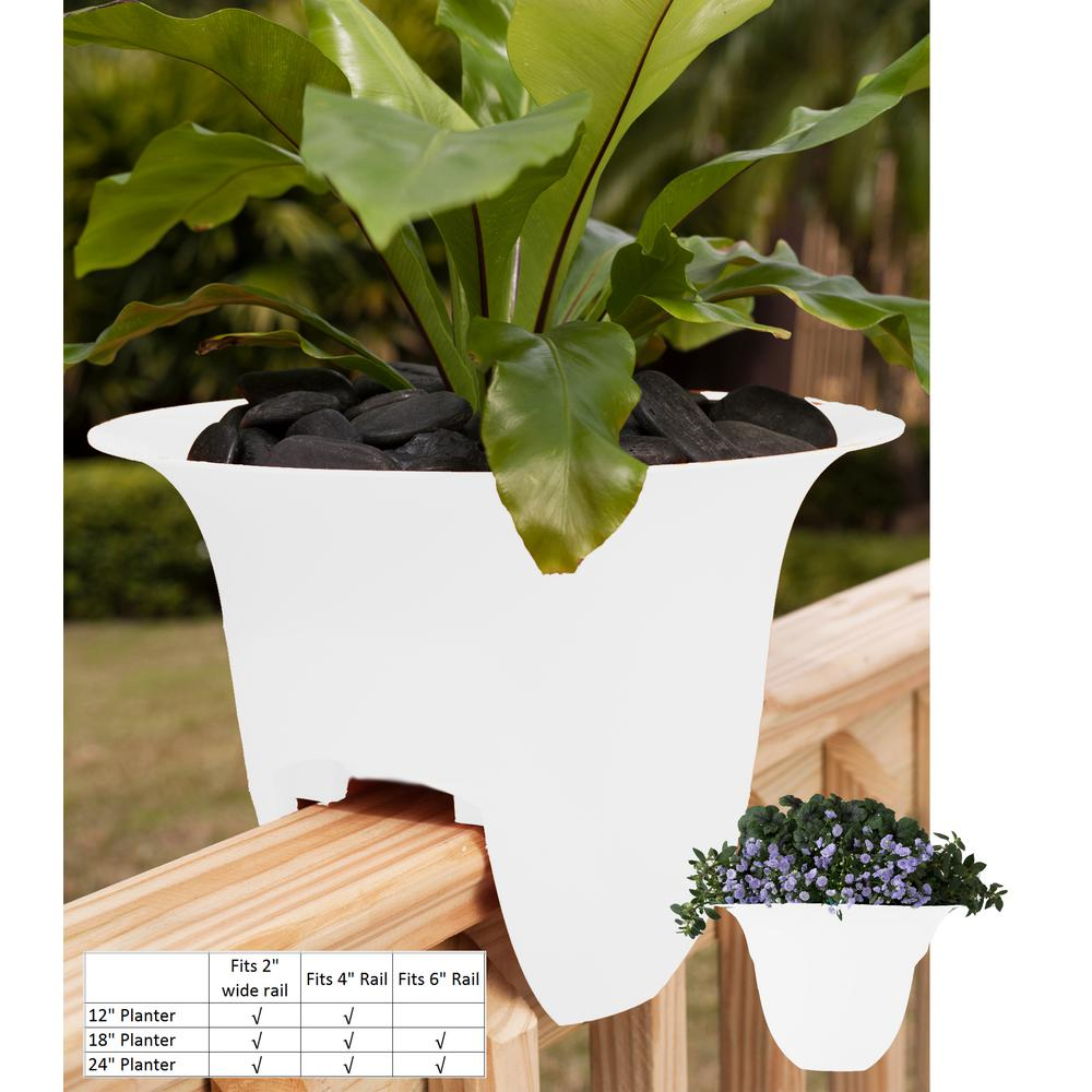 Modern Railing Planters Custom By Rushton: Bloem 18 In. White Modica Rail Plastic Planter-MR1810