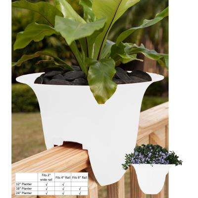 18 x 11 White Modica Plastic Deck Rail Planter