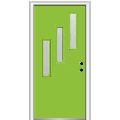36 in. x 80 in. Davina Left-Hand Inswing 3-Lite Frosted Glass Painted Fiberglass Smooth Prehung Front Door