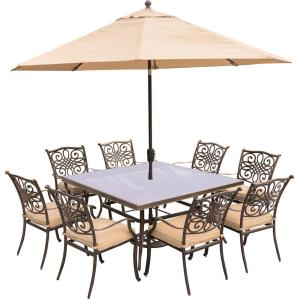 Hanover Traditions 9-Piece Aluminum Outdoor Dining Set with Square Glass-Top... by Hanover