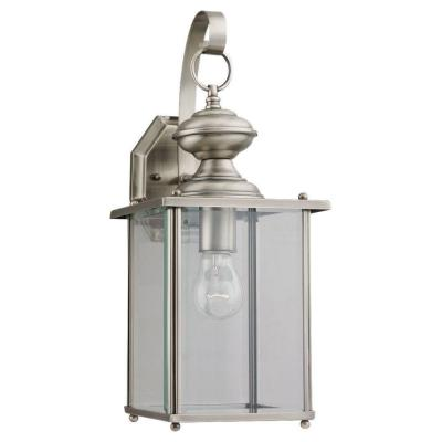 Jamestowne 7 in. W 1-Light Brushed Nickel Outdoor Wall Lantern Sconce with Clear Beveled Glass