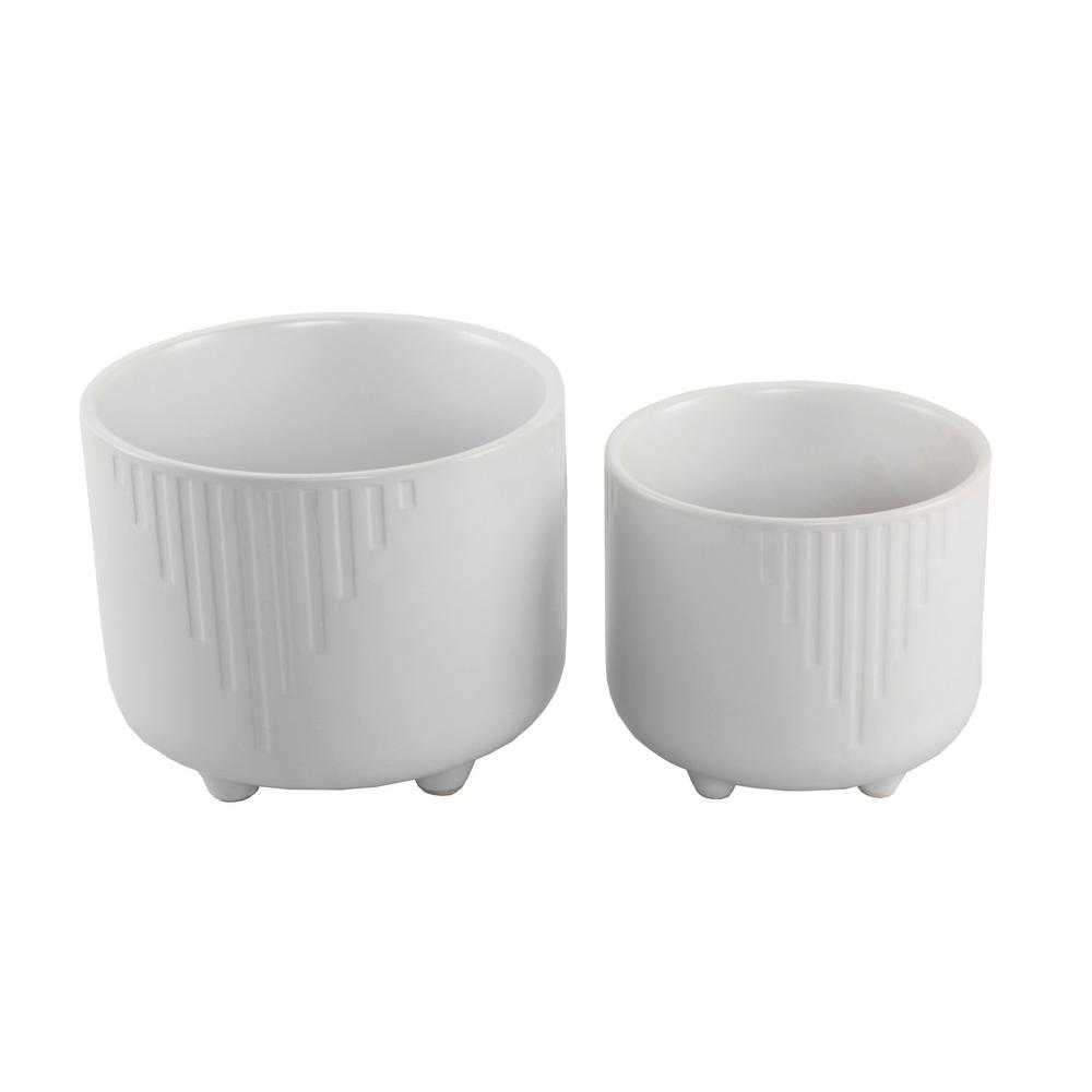 6 in. x 4.75 in. Matte White Cascade Ceramic Footed Planter (Set of 2)