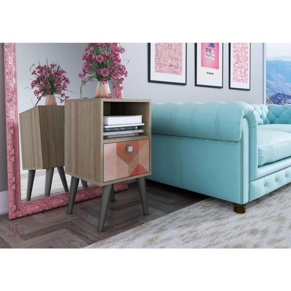 Manhattan Comfort Abisko Oak and Multi-Colored Side Table 1AMC127