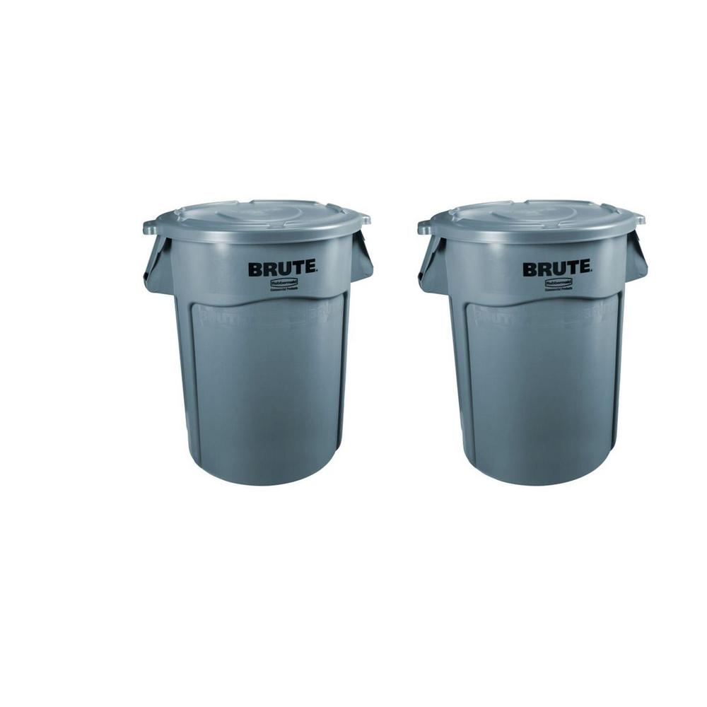3a7e23e5cc6 Rubbermaid Commercial Products Brute 32 Gal. Gray Round Vented Trash ...
