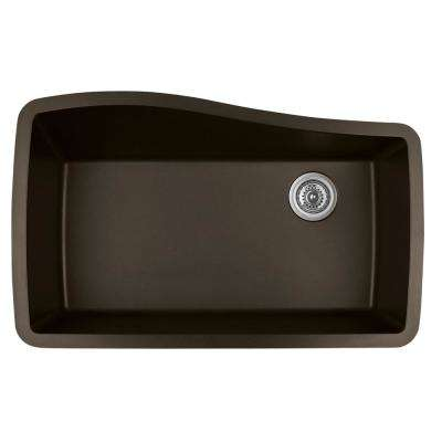 Undermount Quartz Composite 33 in. Single Bowl Kitchen Sink in Brown