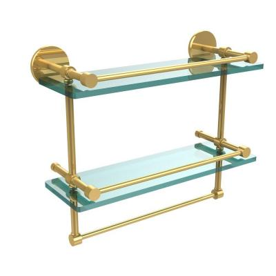 16 in. L  x 12 in. H  x 5 in. W 2-Tier Gallery Clear Glass Bathroom Shelf with Towel Bar in Polished Brass
