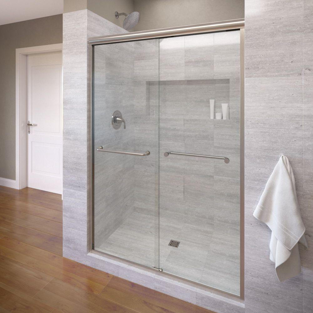 Basco Infinity 47 in. x 70 in. Semi-Frameless Sliding Shower Door in Brushed Nickel with Clear Glass