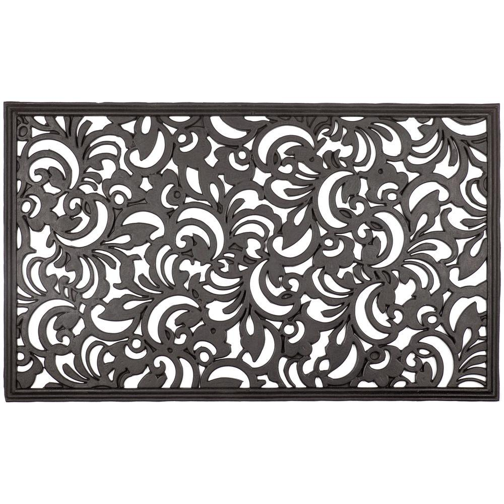 Entryways Scroll Flowers 18 In. X 30 In. Recycled Rubber Door Mat 1067R    The Home Depot