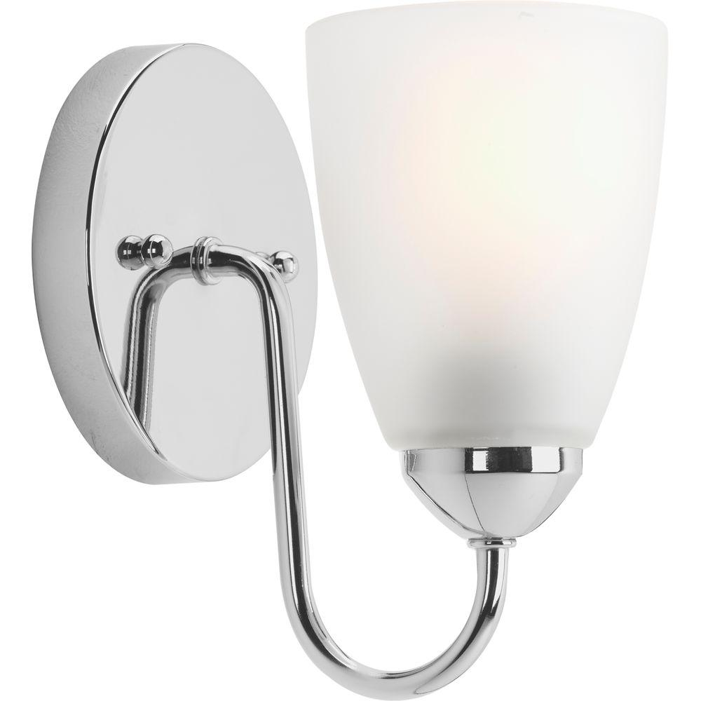 Progress Lighting Gather Collection 1 Light Polished Chrome Bath Sconce With Etched Glass Shade