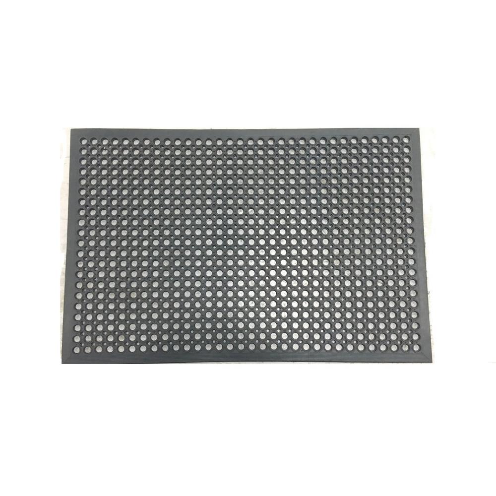 Black 31.5 in. x 47.25 in. Rubber Kitchen Mat