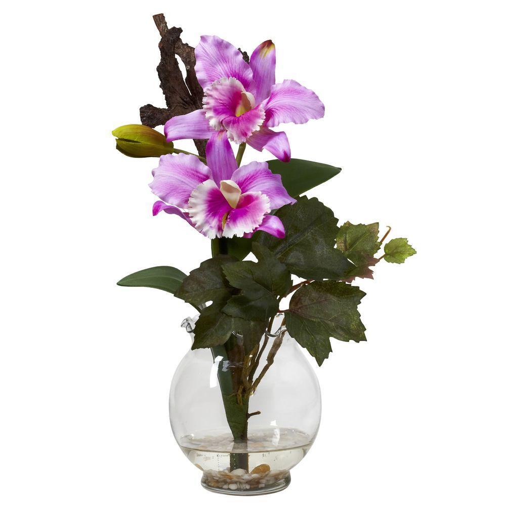 14.5 in. H Lavender Mini Cattleya with Fluted Vase Silk Flower Arrangement
