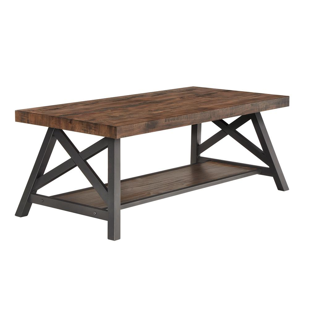 Brown Cocktail Table With Shelf
