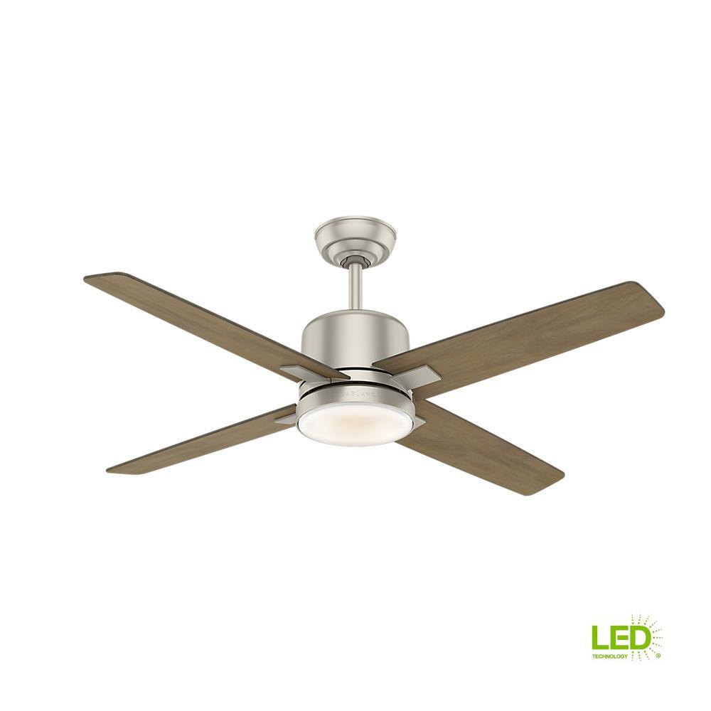 Axial 52 in. LED Indoor Matte Nickel Ceiling Fan with Light