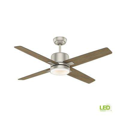 Axial 52 in. LED Indoor Matte Nickel Ceiling Fan with Light and Wall Control