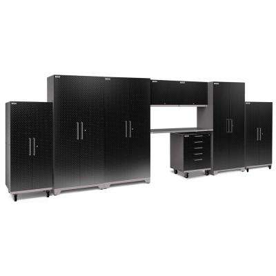 Performance Plus Diamond Plate 2.0 80 in. H x 225 in. W x 24 in. D Garage Cabinet Set in Black (9-Piece)