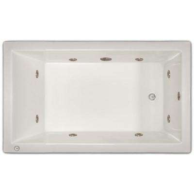 4-1/2 ft. Left Drain Drop-in Rectangular Whirlpool Bathtub in White