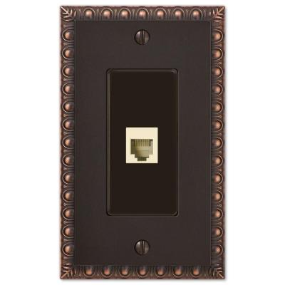 Antiquity 1 Gang Phone Metal Wall Plate - Aged Bronze