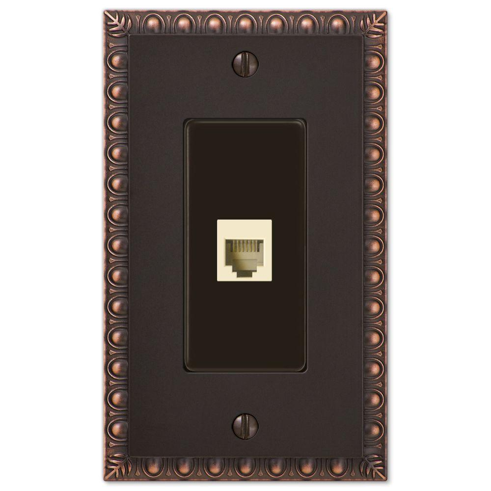 Egg and Dart 1 Phone Wall Plate - Aged Bronze