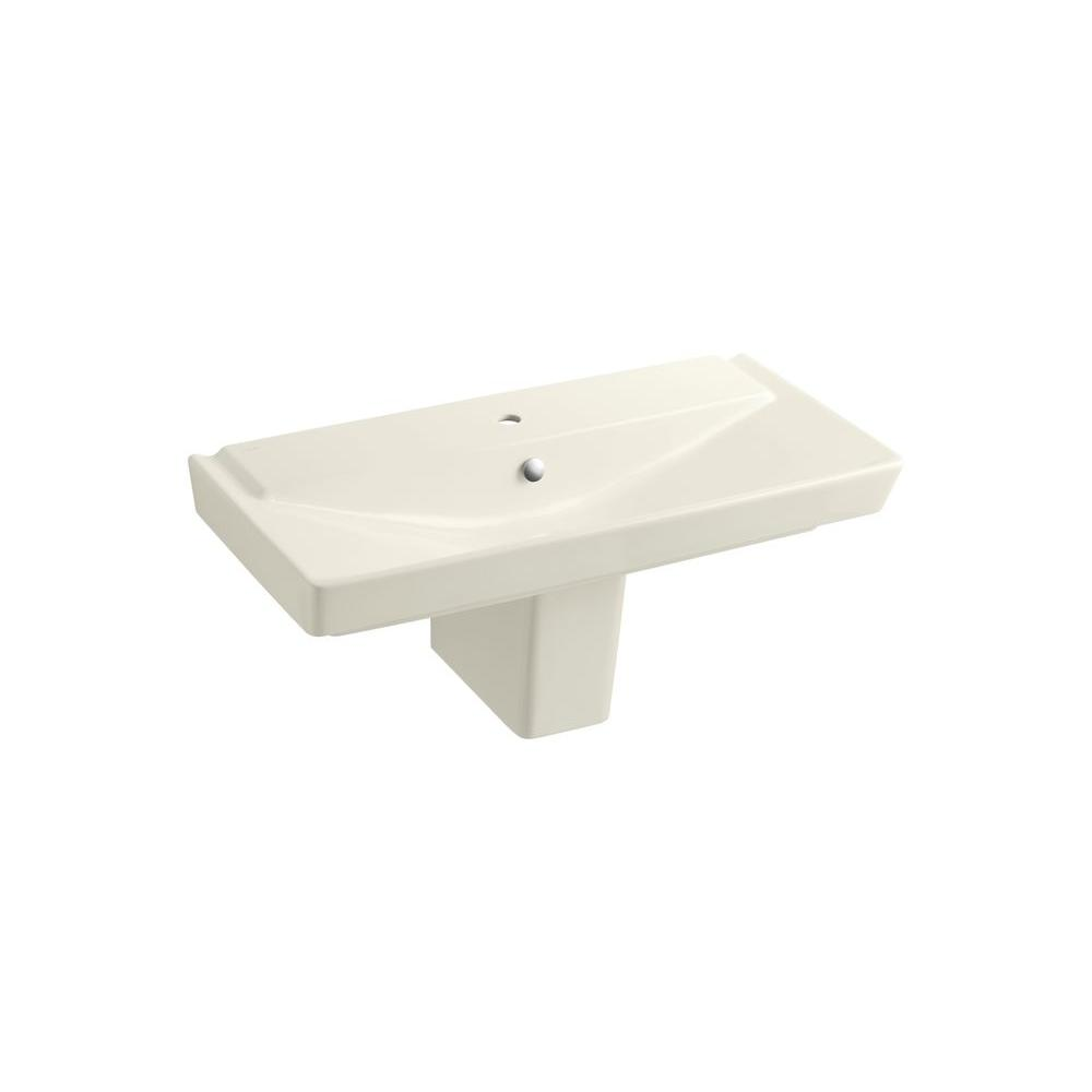 Kohler Reve Wall Mount Vitreous China Bathroom Sink In Biscuit With Overflow Drain K 5148 1 96