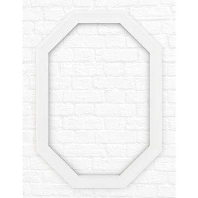 33 in. x 46 in. L3 Octagonal Mirror Frame in Matte White