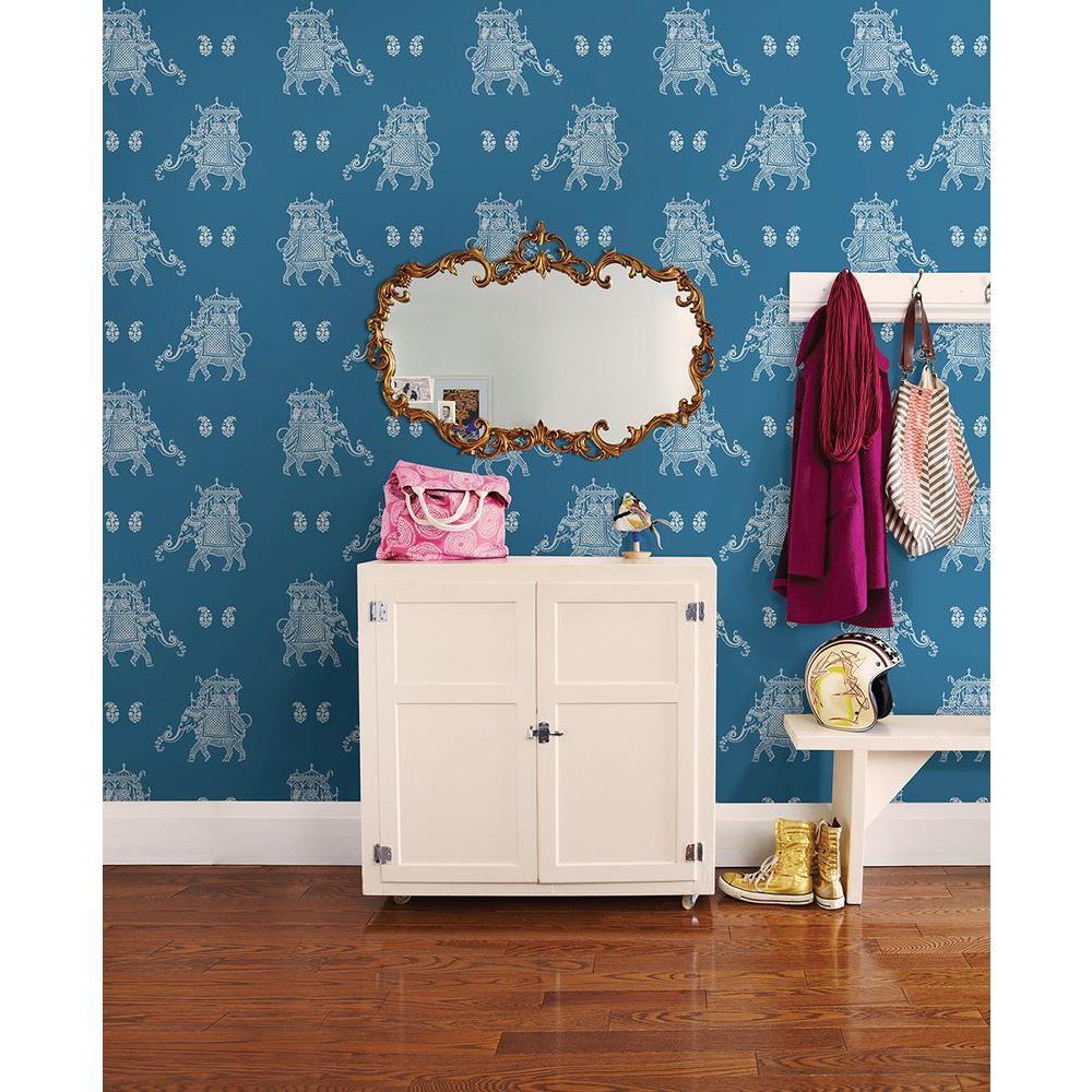 Ophelia Blue Elephant Wallpaper
