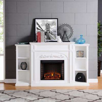 Binghamton 72.5 in. W Bookcase Electric Fireplace in White