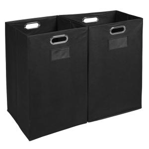 Niche Cheer Foldable Fabric Laundry Bin- Black (Set of 2)