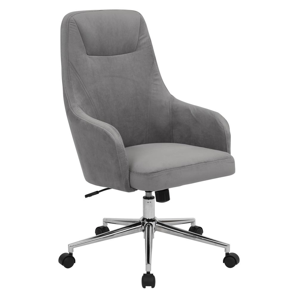 OSP Home Furnishings Marigold Desk Chair, Grey Create a luxurious home office to spark your creativity through the workday with this velvet office chair. Enjoy the comfort of the supportive, high back and padded cushion seat while you carry out your tasks for the day. Plus with an adjustable height base you can easily find your comfort zone. You don't have to sacrifice style for comfort in your home office with the Marigold desk chair. Color: Charcoal.