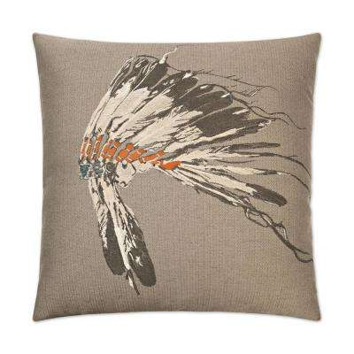 Chief Smoke Feather Down 24 in. x 24 in. Standard Decorative Throw Pillow