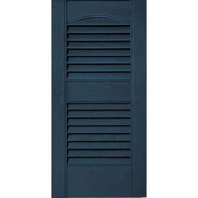 12 in. x 25 in. Louvered Vinyl Exterior Shutters Pair #036 Classic Blue
