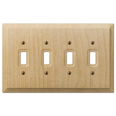 Cabin 4 Gang Toggle Wood Wall Plate - Unfinished