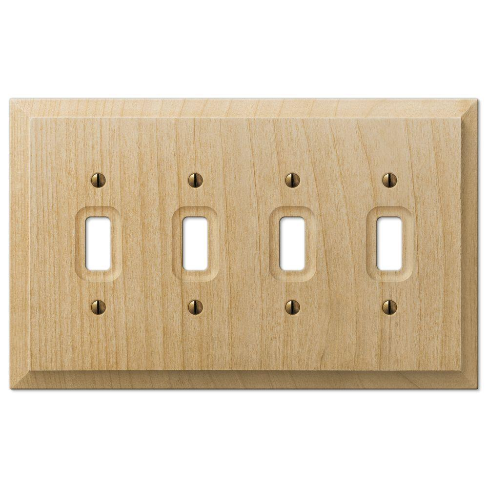 Hampton Bay 4 Toggle Wall Plate - Un-Finished Wood-180T4 - The Home ...