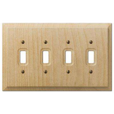 4 Toggle Wall Plate - Un-Finished Wood